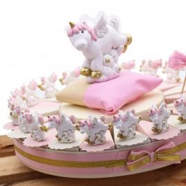 Torte Bomboniere Unicorno Statuina Nascita Bimba Fantasy Pensierini
