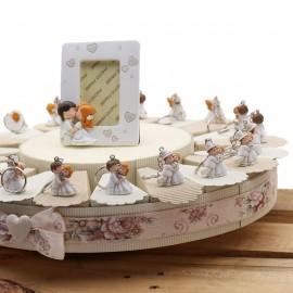 Torta Bomboniere Matrimonio con Portachiave Coppie Sposi Confettata