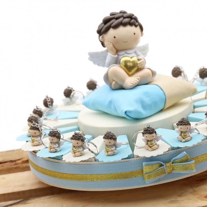 """Torte Bomboniere Portachiave Angioletto Battesimo Bimbo """"Cuore degli Angeli"""""""