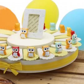 Torte Bomboniere Compleanno Statuine Gufetti Allegri con Confettata