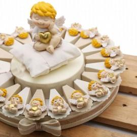 Torta Bomboniere Battesimo Angioletto Biondo con Cuore e Stella Calamita