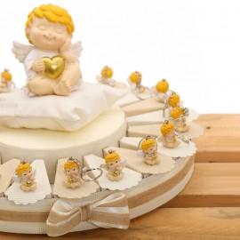 Torta Bomboniere Angioletto Biondo con Cuore e Stella Portachiave