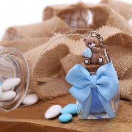 Bomboniera Nascita Portachiave Orsetto con Cuore Bimbo su Vasetto con Confetti