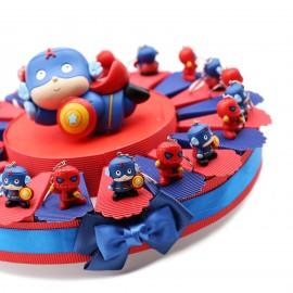Portachiave Supereroi Torta Bomboniere Bimbo Compleanno
