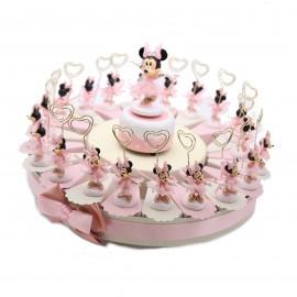 Bomboniere Minnie Ballerina Memoclip per portafoto firmate Disney su Torta Portaconfetti per Prima Comunione di una Bimba