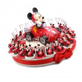 Bomboniere Topolino in macchina Memoclip per portafoto firmate Disney su Torta Portaconfetti per Prima Comunione di un ragazzo