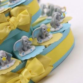 Bomboniere Statuine Dumbo firmate Disney su Torta Portaconfetti per il Primo Compleanno o il Battesimo di un bimbo.