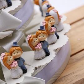 Bomboniere Matrimonio Statuine Sposini per Segnaposto su Torta
