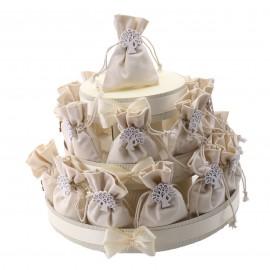 Sacchetti Albero della Vita con Fiocco in Juta Country su Torta Alzatina