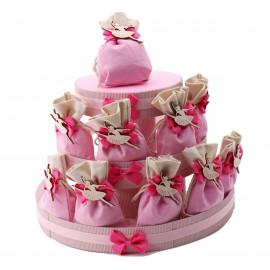 torta sacchetti con applicazione ballerina danzante in legno