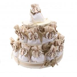 Torta sacchetti con Applicazione in Legno Angelo Stilizzato. Ideale come Bomboniera Prima Comunione o Cresima