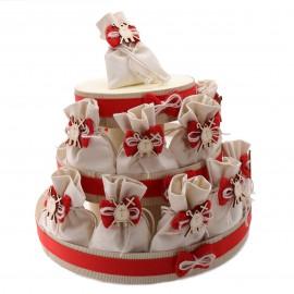 Torta Bomboniere con Sacchetti e Applicazione simbolo Cresima in Legno