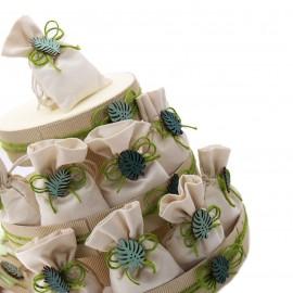 Torta sacchetti con applicazione Foglie Verdi. Ideale come bomboniera ricordo Promessa di Matrimonio o Compleanno