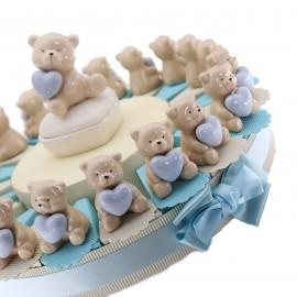 Torta Bomboniere Nascita Battesimo Portaconfetti con Statuina Orsetto Heart Bimbo