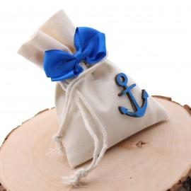 Ancora Blu Mare in Legno su Sacchetto con Confetti. Ideale come bomboniera ricordo Prima Comunione o Compleanno