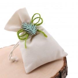 Applicazione Foglie Verde Natural in Legno su Sacchetto portaconfetti. Ideale come bomboniera ricordo Compleanno o Matrimonio