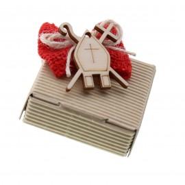 Applicazione in Legno Simbolo Cresima su scatolina con Confetti e Bigliettino. Ideale come bomboniera ricordo Santa Cresima