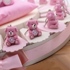 Bomboniere Nascita su Torta Potaconfetti con portachiave Cane con Quadrifoglio Rosa