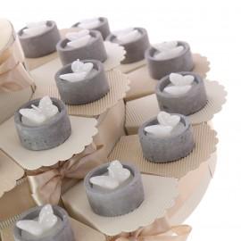 Torta Bomboniere Matrimonio Promessa Confettata Offerte con Candele Farfalla Pois