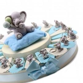 Torte elefantino portachiavi per nascita e battesimo con confetti e bigliettino.