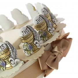 Torta Bomboniere Statuina  Sacro Calice Comunione Oro