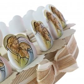 Bomboniere Sacra Famiglia per Battesimo di un Bimbo o una Bimba statuine con immagine sacre su Torta Alzatine