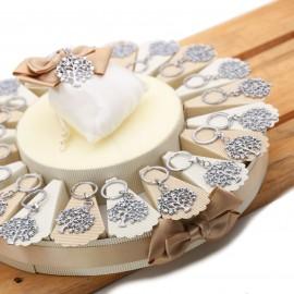 Torta Bomboniere Albero delle Farfalle  Portachiave per Matrimonio con confetti e astuccio portaconfetti.