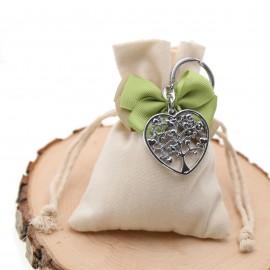 Bomboniere Confezionate Sacchetto con Portachiave Albero del Cuore per Promessa di Matrimonio