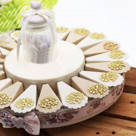 Albero della Vita con Cuori Matrimonio Ciondolo Gold su Torta Bomboniere con confetti