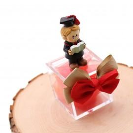 Bomboniere Laurea Con Dottore Laureato su Pexiglass e fiocco Rosso e Tortora ideale per Laurea