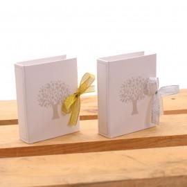 Bomboniere Anniversario Libro Book Albero della Vita Avana con Nastro Glitter e Confetti per Promessa di Matrimonio