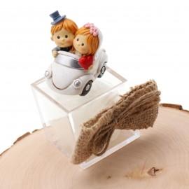 Bomboniere Promessa di Matrimonio Confezionati Statuina Sposini In Macchina con plexiglass wedding