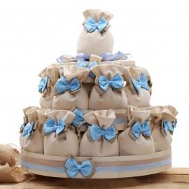 Bomboniere Nascita e Battesimo Torte con Sacchetti e Fiocco per confetti Bimbo