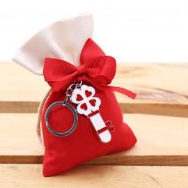 Bomboniera Laure Portachiave Chiave Portafortuna Quadrifoglio Rosso con Sacchetto e confetti.