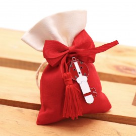 Bomboniera Laurea Ciondolo Chiave Coccinella Rossa Nappina Fortuna con Sacchetto e confetti crispo