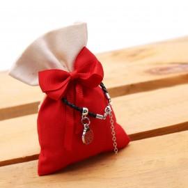 Bomboniera Mini Coccinella Fortunata a Pois Bracciale Compleanno con Sacchetto