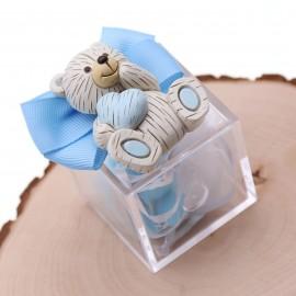 Bomboniere Nascita e Battesimo con Confetti Magnete Bimbo Orsetto con Cuore confezionamento plexiglass
