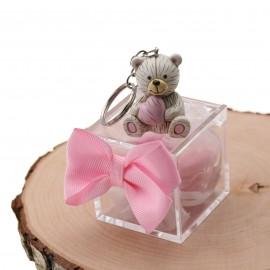 Portachiavi orsetto con cuore per nascita e battesimo confezionato con confetti.