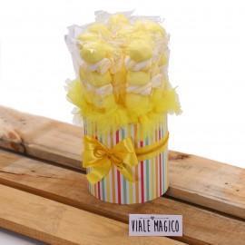 Box Marshmallow a righe con Caramelle Trecce e Palline Gialle