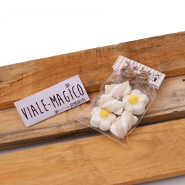 Bustina Matrimonio Marshmallow con Fiori e Trecce Tortora