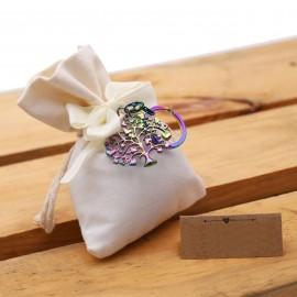 Bomboniera Compleanno Portachiave Albero della Vita Cuori Rainbow su Sacchetto Confettata