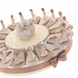 Torta con Appendino Ballerina in Porcellana per Prima Comunione.