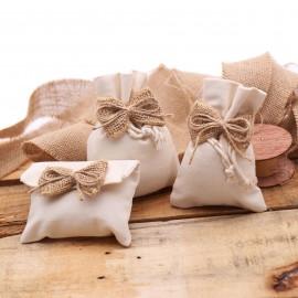 Bomboniere Matrimonio Sacchetto Fiocco in Juta Country con Confettate per faidate confezionamento.