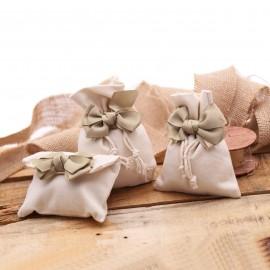 Sacchetto Elegante Bomboniera Matrimonio Basic con Fiocco e Confetti per faidate confezionamento