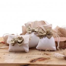 Bomboniere Matrimonio Sacchetto Bicolor con Fiocco Elegante per confezionamento faidate.