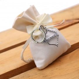 Bomboniera Arco dell'amore per Matrimonio Portachiave con Sacchetto e Confetti