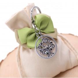 Bomboniere Confezionate Sacchetto con Portachiave Cerchio Albero della Vita per Promessa di Matrimonio
