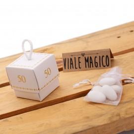 Bomboniera Nozze Oro Scatolina con n°50 oro per Anniversario Matrimonio con Confetti