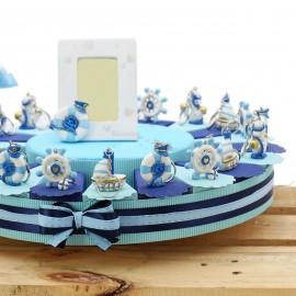 Torte Bomboniere Compleanno Portachiavi Tema Mare Gold Confetti timone, ancora, salvagente, barca.