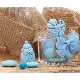Bomboniere Nascita Statuina Carrozzina e Biberon Bimbo su Plexiglass con Confetti